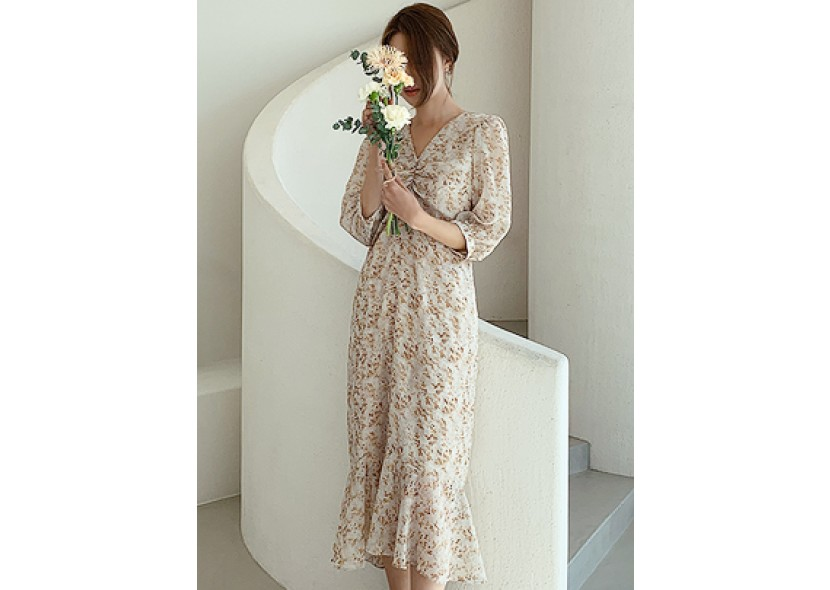 Flower Kalene Shirring Dress