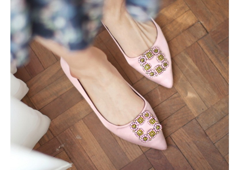 Shiny Jewel Square Shoes