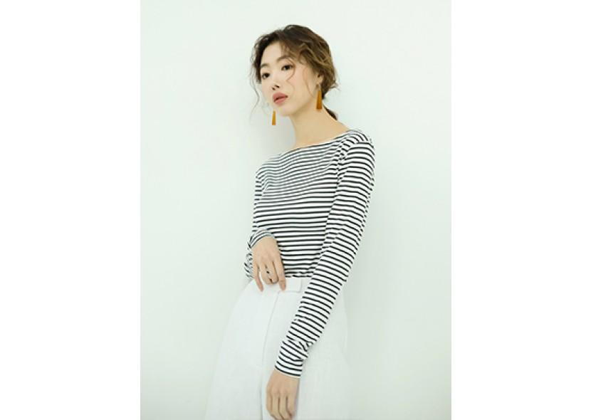 Boat-neck Stripe T-Shirt