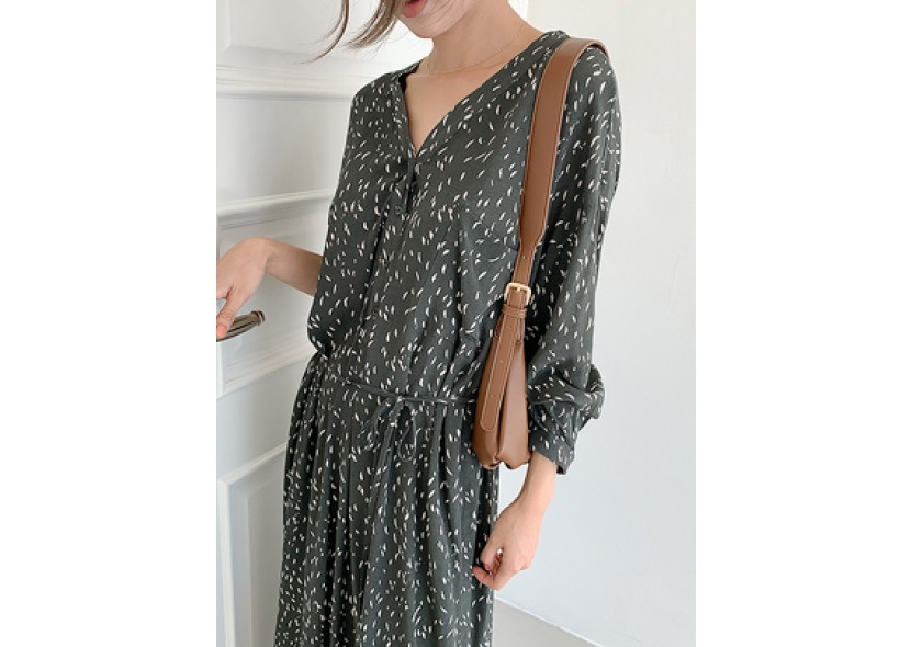 Melby Digital Printing Dress(Khaki)