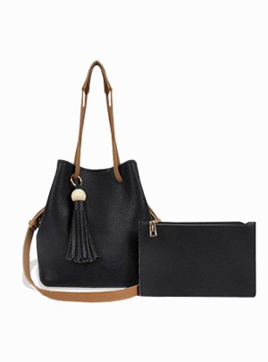 Wood Bowl Tassel Bucket Bag