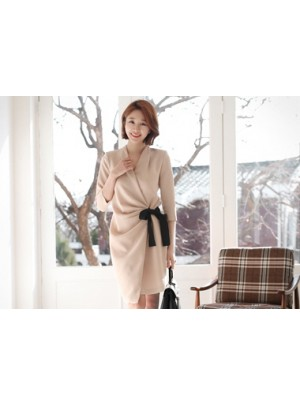 Shirring Medium Sleeve Dress