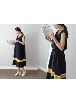 Long Color Block Dress