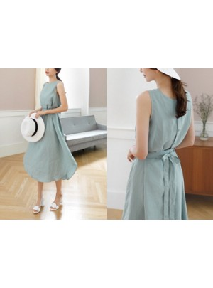 Sleeveless Linen Long Dress (Mint)