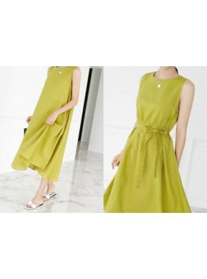 Sleeveless Linen Long Dress (Olive)