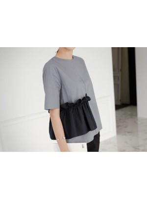 Color Combination Pocket Blouse