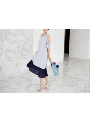 Color Flare Long Dress