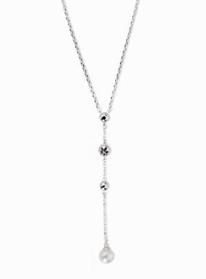 Silver Ball Drop Necklace