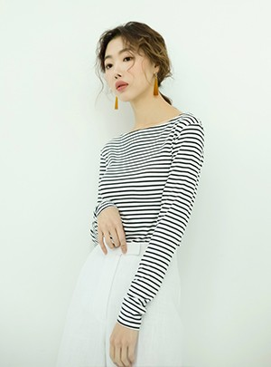 Boat-neck Stripe T-Shirt