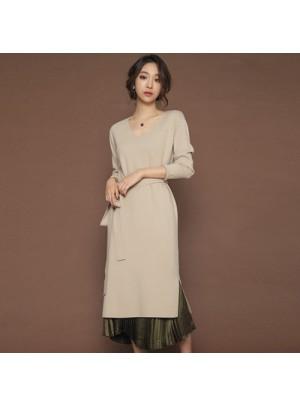 Fay V-Neck Long Dress